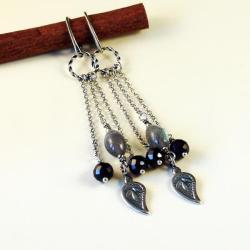 długie kolczyki ze srebra,labradorytów i granatów - Kolczyki - Biżuteria