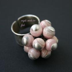srebro,różowy,rodonit,pierścionek,oksydowany,fado - Pierścionki - Biżuteria