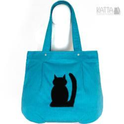 kocia torba,blue bag,niebieski sztruks - Na ramię - Torebki