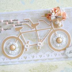 ślub,rower,kwiaty,koraliki - Kartki okolicznościowe - Akcesoria