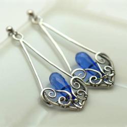 kolczyki srebrne,wire-wrapping,niebieskie - Kolczyki - Biżuteria