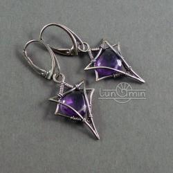 wire wrapping,kolczyki,unikat,fioletowe - Kolczyki - Biżuteria