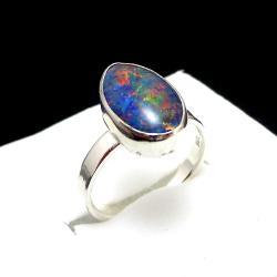 tęczowy,opal,minimalizm,wiosenny,barwny,kolory,łza - Pierścionki - Biżuteria