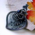 Wisiory oksydowane srebro,perła,wire-wrapping,alabama