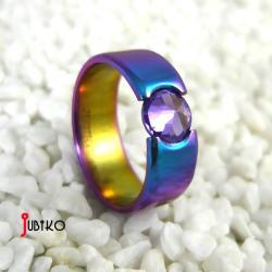 tytanowy,kolorowy,lekki,cyrkonia,wytrzymały - Pierścionki - Biżuteria