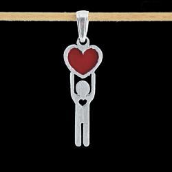wisior,serce,czerwony,srebrny,oryginalny - Wisiory - Biżuteria