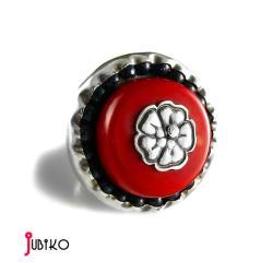 srebrny,pierścień,koral,kwiat,duży - Pierścionki - Biżuteria