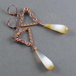 wire wrapping,kolczyki,unikat,żółte,miedź - Kolczyki - Biżuteria