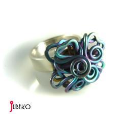 tytanowy,lekki,obrączka,wytrzymały,kwiatek - Pierścionki - Biżuteria