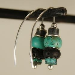 kolczyki,turkus,lawa,biżuteria damska - Kolczyki - Biżuteria