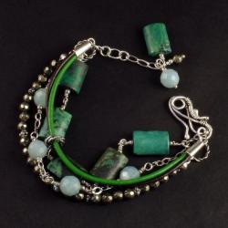 czterorzędowa bransoletka z pięknymi minerałami - Bransoletki - Biżuteria