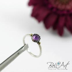 pierścionek z ametystem,delikatny,subtelny - Pierścionki - Biżuteria