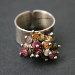 pierscionek,turmalin,szafir,topaz - Pierścionki - Biżuteria