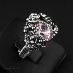 srebrny pierścień,cyrkonia,swarovski,wire-wrapping - Pierścionki - Biżuteria