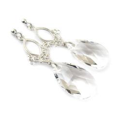 srebrne kolczyki ślubne kryształy Swarovski - Kolczyki - Biżuteria