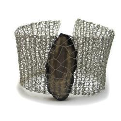 bransoletka,pleciona,agat,elegancka,szydełko - Bransoletki - Biżuteria