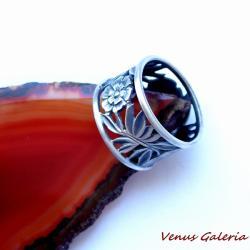 srebro,oksyda,obrączka - Pierścionki - Biżuteria