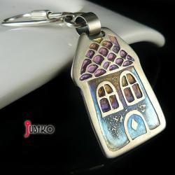 domek,brelok,tytanowy,kolorowy - Breloki - Biżuteria