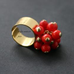 srebro,pierścionek,koral,fado - Pierścionki - Biżuteria