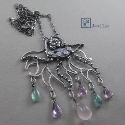 srebro,tajemniczy,głębina,morze,kobieta - Wisiory - Biżuteria