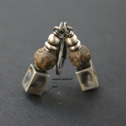 srebro,kolczyki,bursztyn,brązowe,oksydowane,fado - Kolczyki - Biżuteria