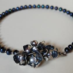 autorska,czarna perła,nitza,ślub,romantyczny - Naszyjniki - Biżuteria