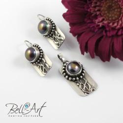 komplet,srebrny,perły - Komplety - Biżuteria