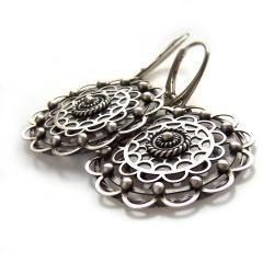 wyraziste,koronkowe,warstwowe,kwiatowe,rozety, - Kolczyki - Biżuteria