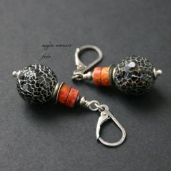 kolczykiagat,srebro,pomarańczowe,fado - Kolczyki - Biżuteria