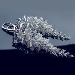 długie ślubne kolczyki grona Swarovski i srebro - Kolczyki - Biżuteria