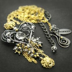 ekskluzywny,elegancki,bogaty,złoty,kryształ - Naszyjniki - Biżuteria