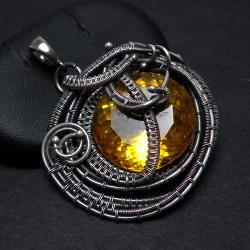 wisior,wrapping,żółty,cytryn - Wisiory - Biżuteria