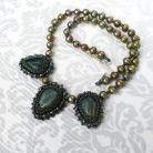 Naszyjniki haft koralikowy,labradoryty,liście,perły,leśny