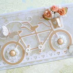 ślub,rower,kwiaty,motyle - Kartki okolicznościowe - Akcesoria