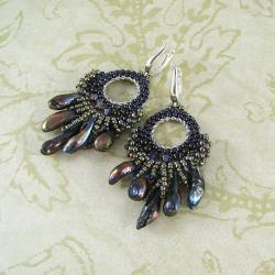 Sirens - plecione kolczyki z perłami słodkowodnymi - Kolczyki - Biżuteria