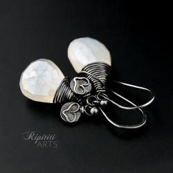 zestawienie bieli z czernią chalcedon Ripititi Art - Kolczyki - Biżuteria