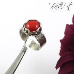 koral,elegancki,pierścionek,pleciony - Pierścionki - Biżuteria