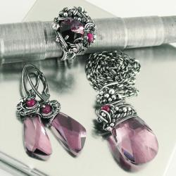 rubin,srebro,wire-wrapping,swarovski,antique pink - Komplety - Biżuteria