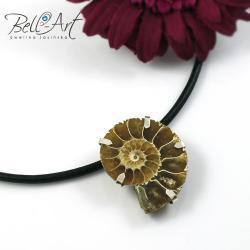 amonit,srebro,rzemień,naturany, - Naszyjniki - Biżuteria