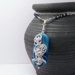 wire-wrapping,agat,orientalny,elegancki - Wisiory - Biżuteria