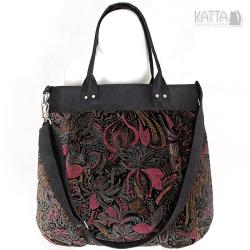 aksamitna,velvet bag,gotyckie wzory,do pracy - Na ramię - Torebki