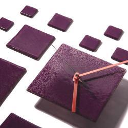 fioletowy oryginalny zegar,szklany,na ścianę - Zegary - Wyposażenie wnętrz