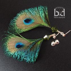 pawie pióra,kolczyki z kryształami i piórami - Kolczyki - Biżuteria
