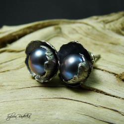 kolczyki wkrętki z fioletową perłą - Kolczyki - Biżuteria
