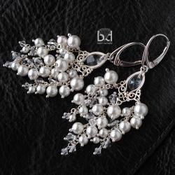 bogate kolczyki na ślub - grona - Kolczyki - Biżuteria