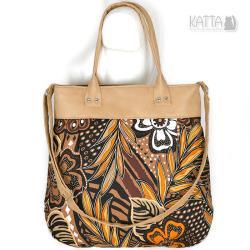 camel,jasna torba,zamszowa,karmelowa,kwiaty - Na ramię - Torebki