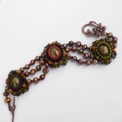haft koralikowy,jesienna,stonowana,perły,miedziny - Bransoletki - Biżuteria