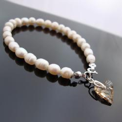 biała,serce,walentynki,srebrna - Bransoletki - Biżuteria