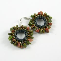 kolczyki koła,kolczyki koralikowe,jaspis, - Kolczyki - Biżuteria
