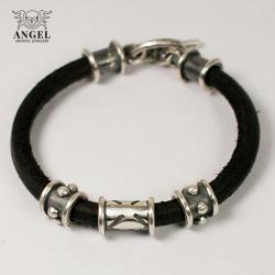 bransoleta,srebro,skórzana - Bransoletki - Biżuteria